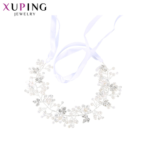 00285 xuping flower pearl india head piece jewelry, rhinestone white gold color wedding headpiece
