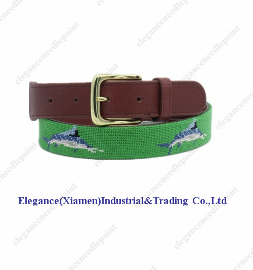Wholesale sword fish green needlepoint with genuine leather belt