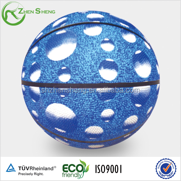 Size 6 water printing rubber basketball with rubber bladder suit for promotion