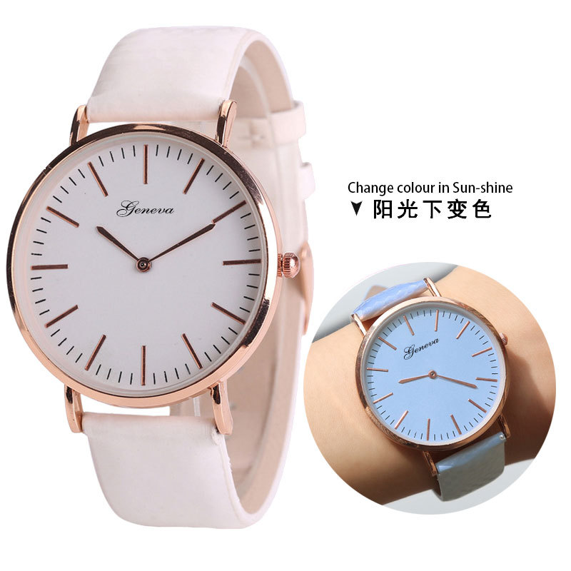 Temperature Change Color Watches for Women Students PU Leather Strap Wristwatch change color in the sunlight