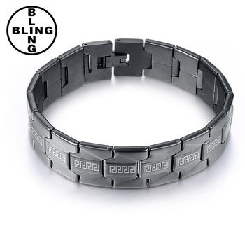 Men Negative Ions Germanium Far Infra Red Titanium Bracelet Black Bangle