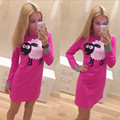New fall 2016 European and American printing Slim round neck long sleeved dress package hip little