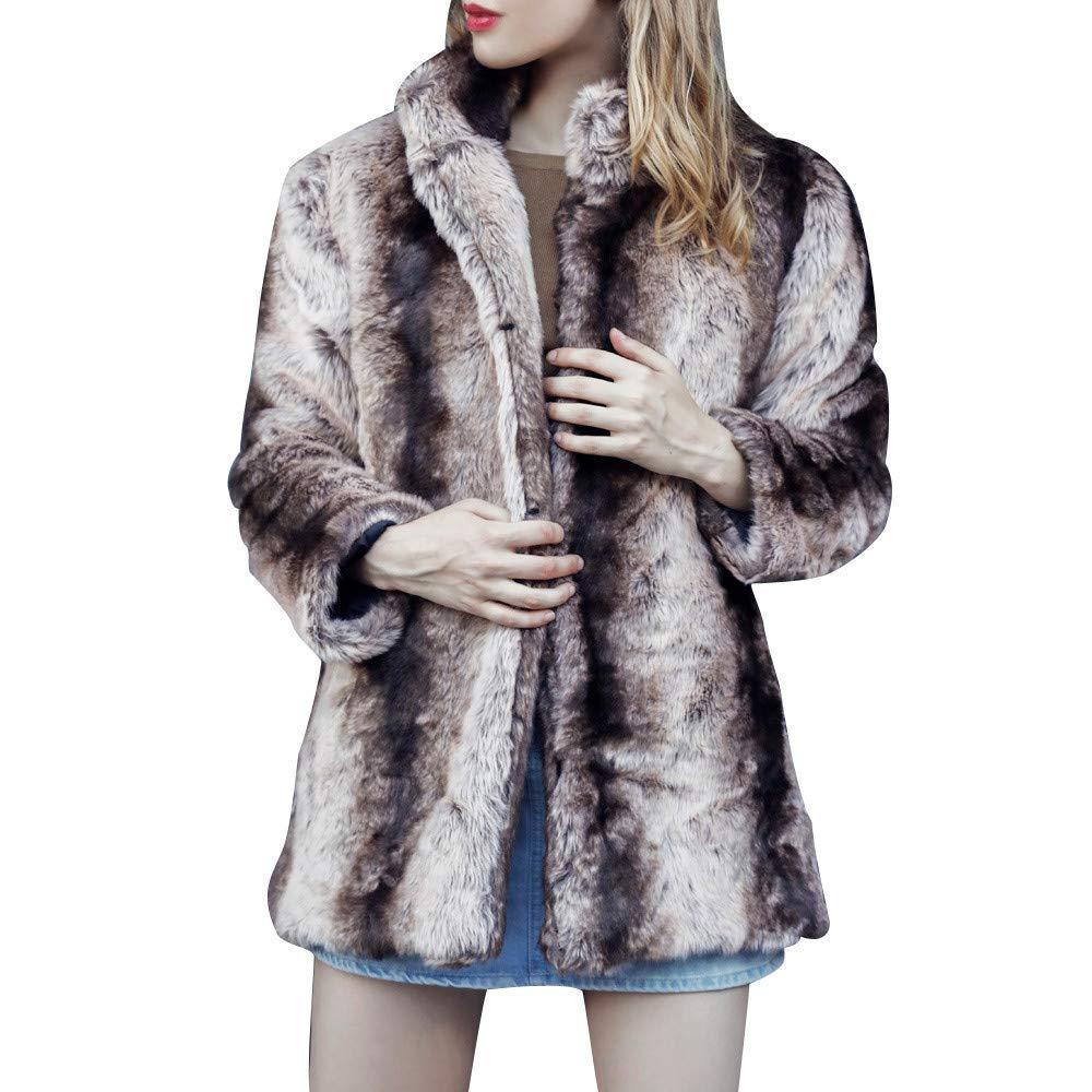 Coats For Women On Sale, Clearance!! Farjing Winter Sale Women Casual Notch Collar Autumn Winter Faux Fur Coat Outwear