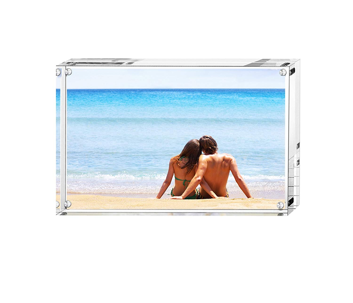 BFRed Acrylic Photo Frame 3x5 inches Magnet Picture Frames, Double Sided Desktop Frames Magnetic Acrylic Picture Frames
