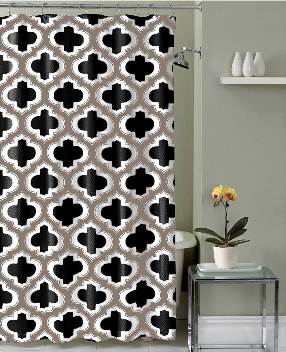 Get Quotations Black Taupe White Moroccan Geometric Carter Fabric Shower Curtain