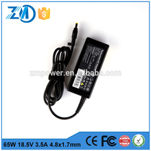 Factory hot sales 65W 18.5V 3.5A 19v 2.0a power adapter for HP