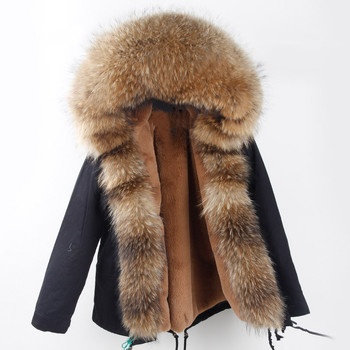 123cb20f3fc4d High Quality Real Fur Winter Jacket Hood Replacement For Women Bomber jacket  Removable Faux Fur Lining