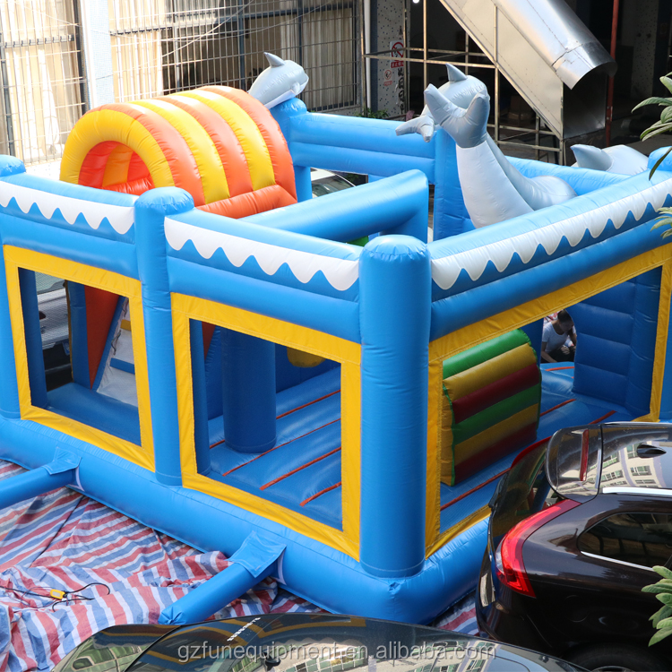 Promotion cheap Dolphin Bouncer kids bouncer water Slide Combo Inflatable Bouncer Castle animal for kids and adult