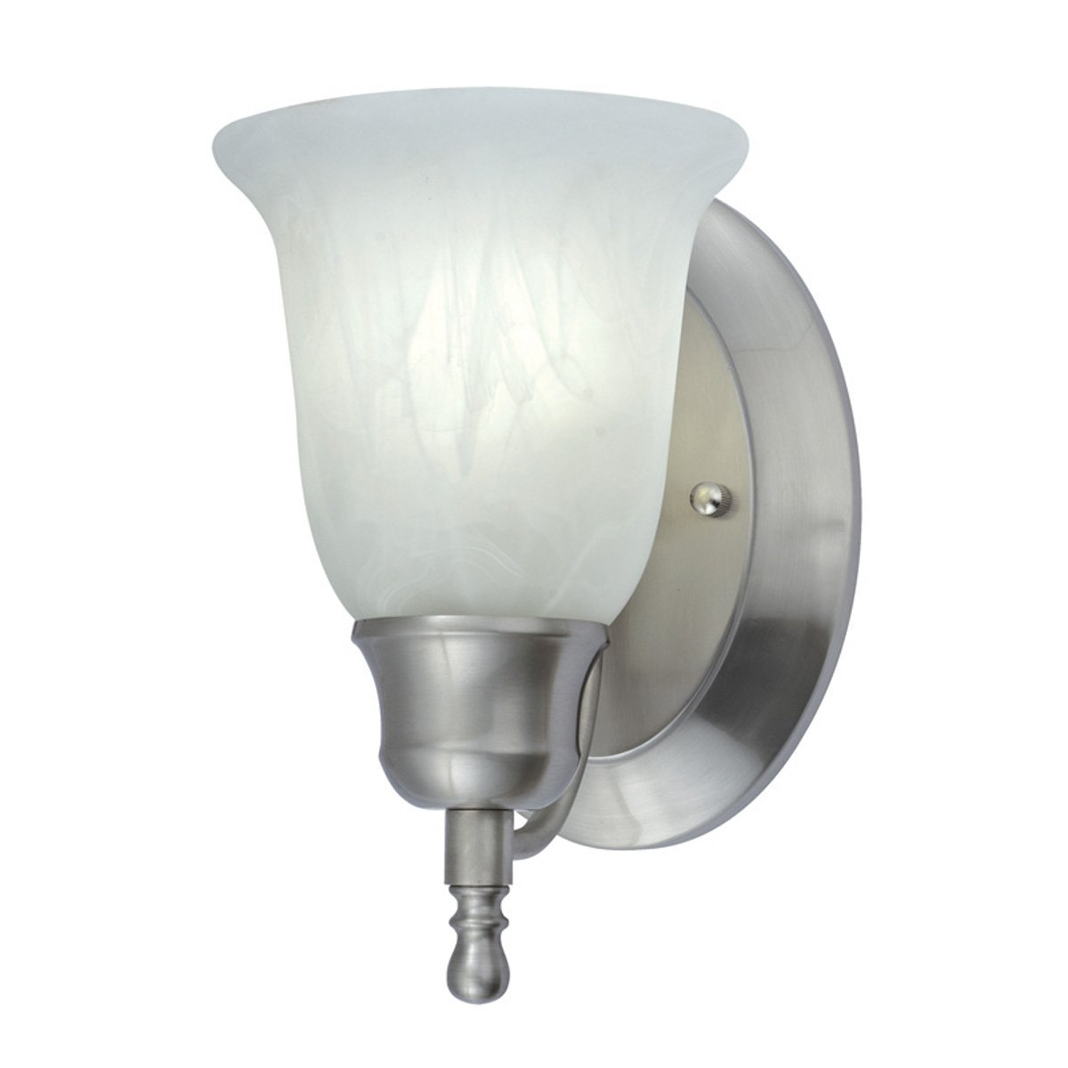 NICOR Lighting 6-Inch 18-Watt Vanity Wall Sconce with Alabaster Glass Shade, Nickel (34475-118NK)