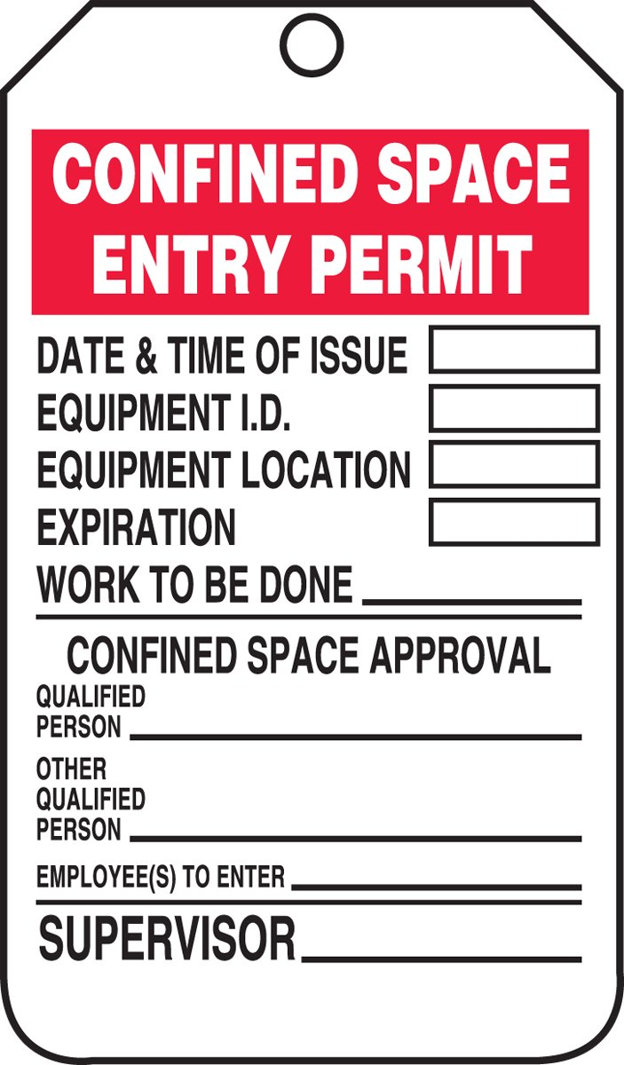 5.75 Length x 3.25 Width x 0.015 Thickness RP-Plastic LegendCONFINED SPACE INSPECTION TAG Pack of 25 LegendCONFINED SPACE INSPECTION TAG Accuform Signs Accuform TCS321PTP Confined Space Status Tag Red//Black on White