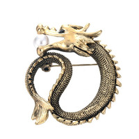unisex Simulated Pearl Dragon Brooch Unique Animals Brooch Badges Collar Clip for Men Suit Accessories