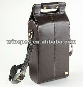 Quality Leather Wine Bag Tote Carrier Holder Two Bottle