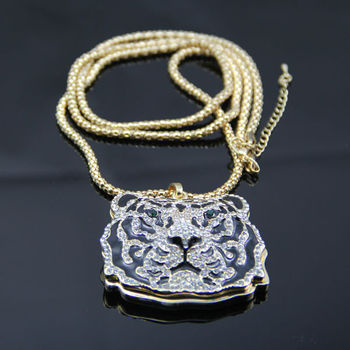New iced out tiger face pendants long chain necklace gold tone free new iced out tiger face pendants long chain necklace gold tone free shipping mozeypictures Gallery
