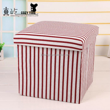 Household Fashion Full Printing Pattern Folding Sundries Storage Stools
