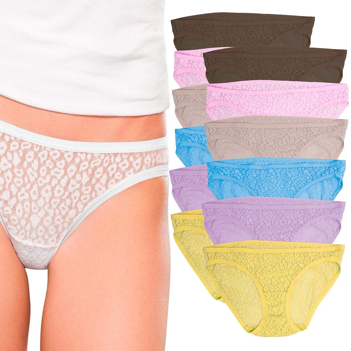 d50bb945f29a Get Quotations · Fruit of the Loom (12 Pack Lace Bikini Panties for Women  Underwear No Panty Line