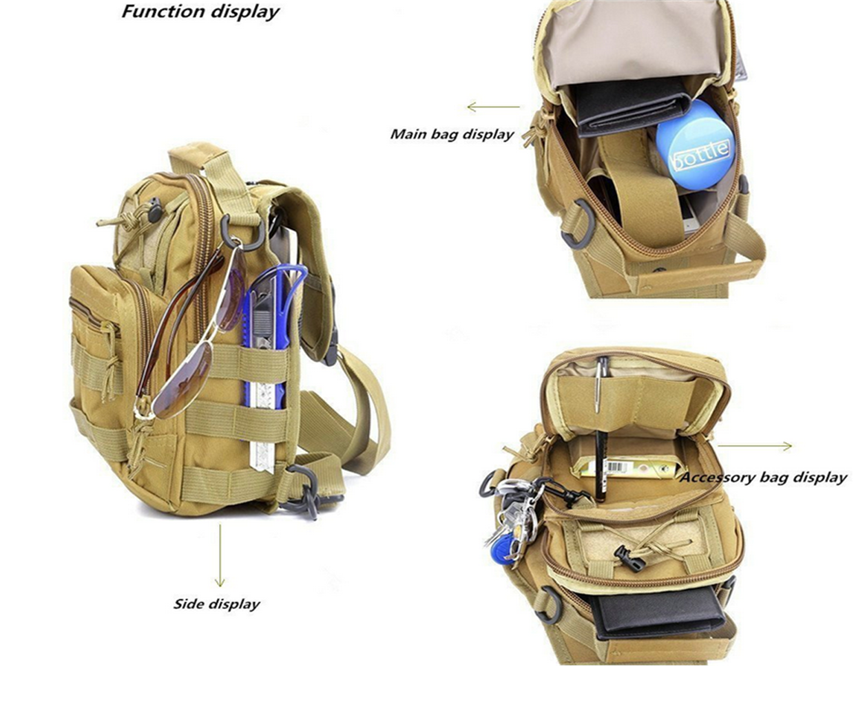 Outdoor Tactical Sling Chest Pack Bag with Molle Webbing and Water Resistant
