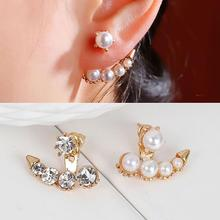 New Fashion Arrow Gold Plated White Acrylic Pearl Imitation Clear Rhinestone Copper Ear Jacket Studs Earrings