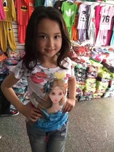 Frozen Princess Girls Shirts pink Tees Anna And Elsa Short Sleeve Children's Clothing T-shirts