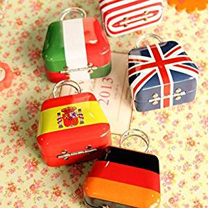 Hyalo (TM) 1 pc Lovely Flag Trunk Shape Secret Tin Plate Box Piggy Bank Money Save Pot Coin Box Storage Tank Jewelry Box Creative Gift D55
