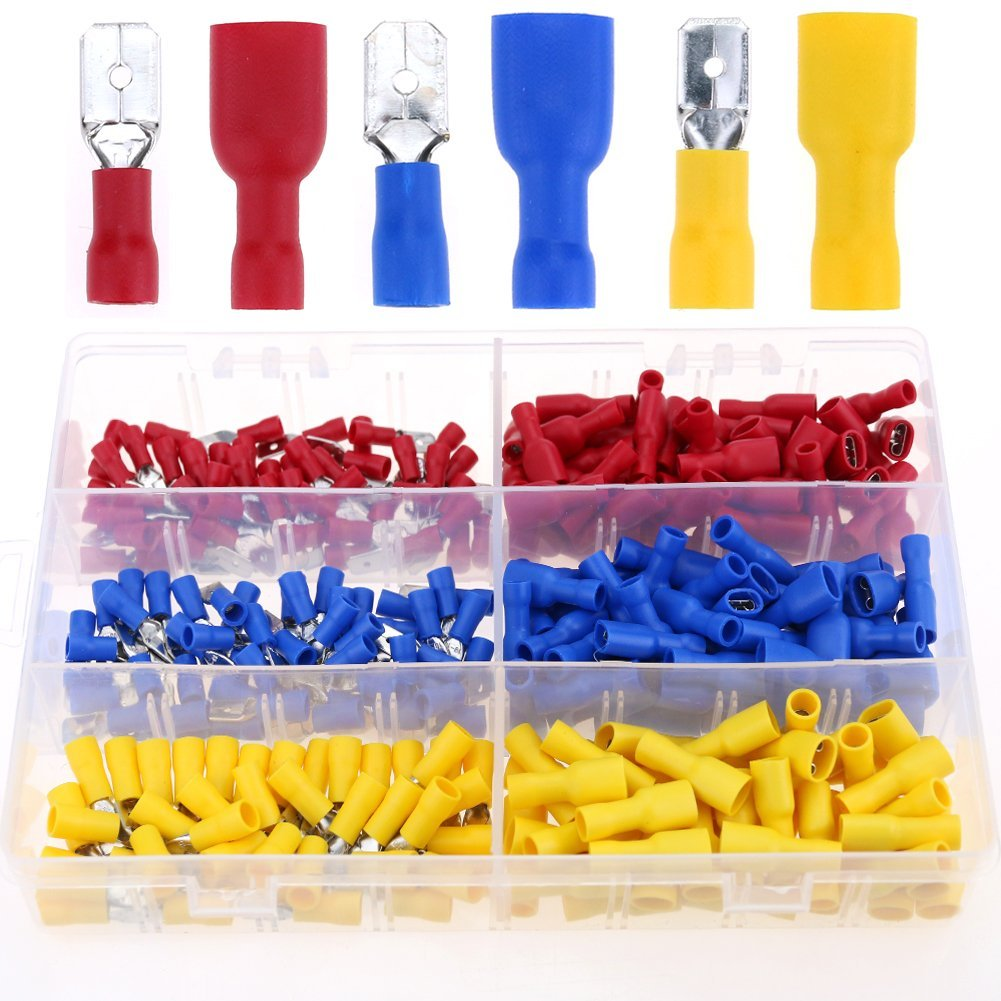 Glarks 280pcs 22-16 / 16-14 / 12-10 Gauge Fully-Insulated Male / Female Spade Quick Splice Crimp Terminals Connectors Assortment Kit