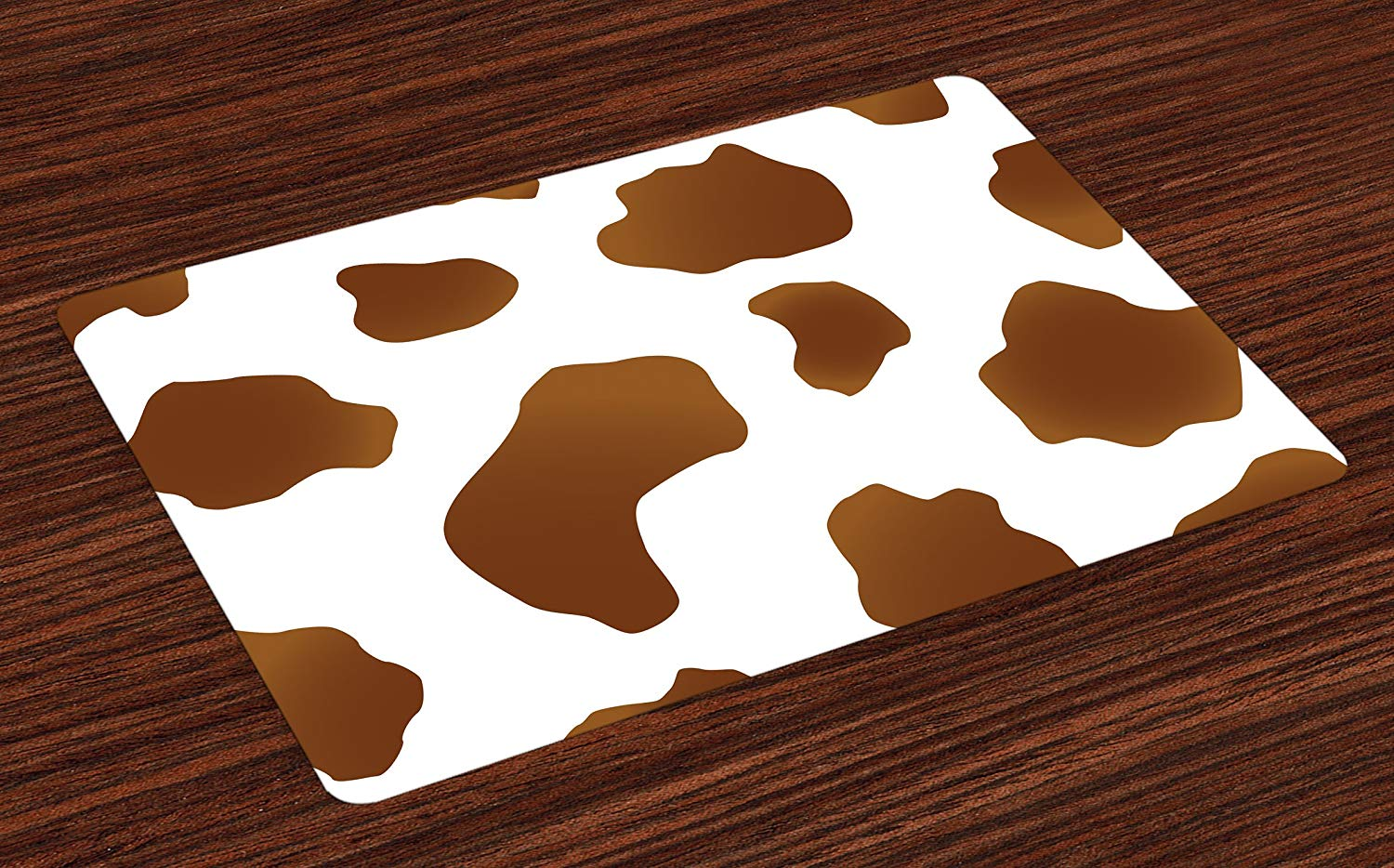 Get Quotations Ambesonne Cow Print Place Mats Set Of 4 Brown Spots On A White Skin