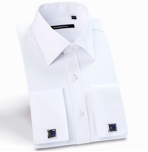 Men's Luxury French Cuff Solid Color Dress <strong>Shirts</strong> Peaked Collar Long Sleeve Classic-fit Formal <strong>Shirt</strong>