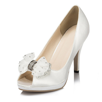new style white satin upperopen toe women' single small orders women shoes ladies guangzhou