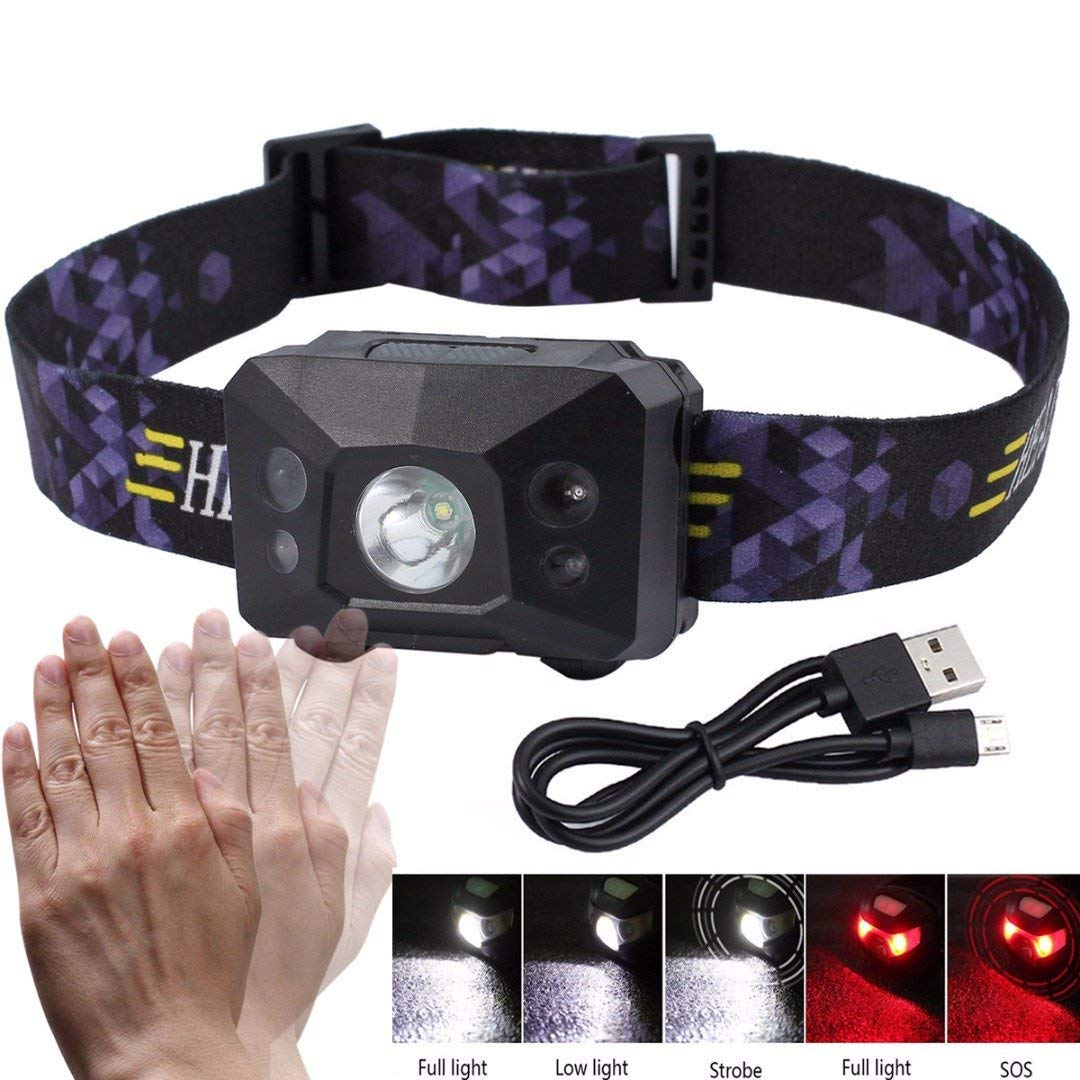 ERTIANANG Super Bright LED Rechargeable USB Headlight Outdoor Running Camping Hiking Headlamp Flashlight Head Torch Lamp With USB