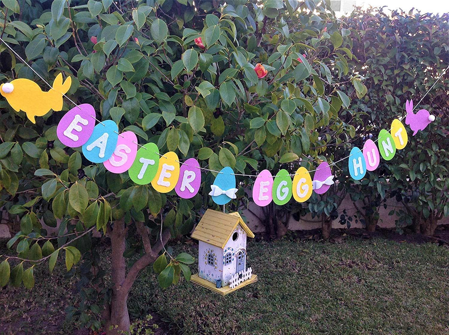 Easter Egg Hunt Garland, Easter Felt Banner, Handmade Bunting for Spring, Easter Decoration & Photo Prop