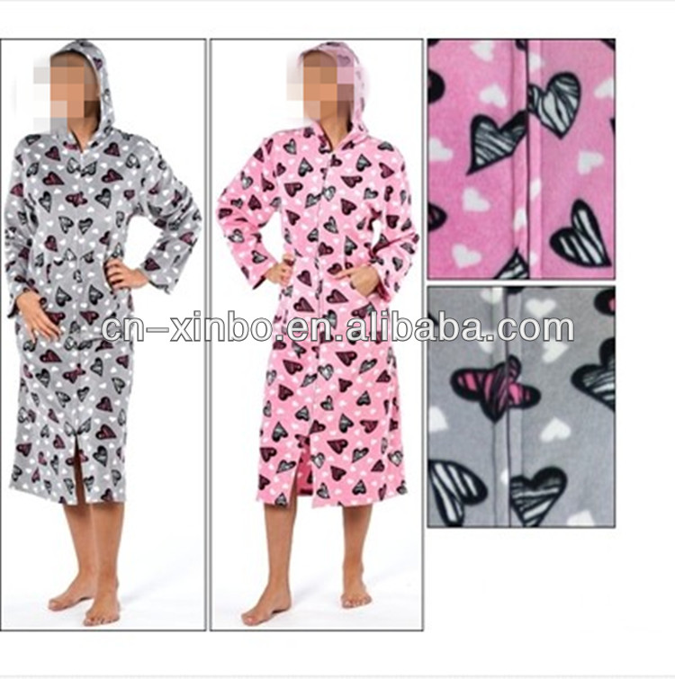 Ladies Soft Fleece Zip Up Dressing Gown Womens Hooded Bathrobe ...