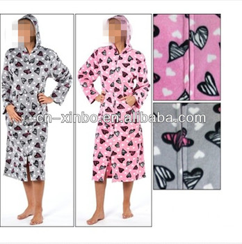 Ladies Soft Fleece Zip Up Dressing Gown Womens Hooded Bathrobe ...