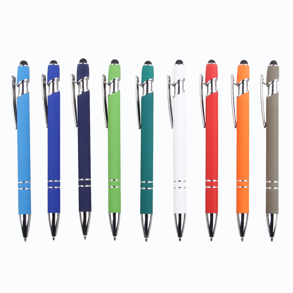 Stylus & Soft Touch Rubberized Metal Ball Point <strong>Pen</strong> in stock 9 colors delivery 3-7days low MOQ
