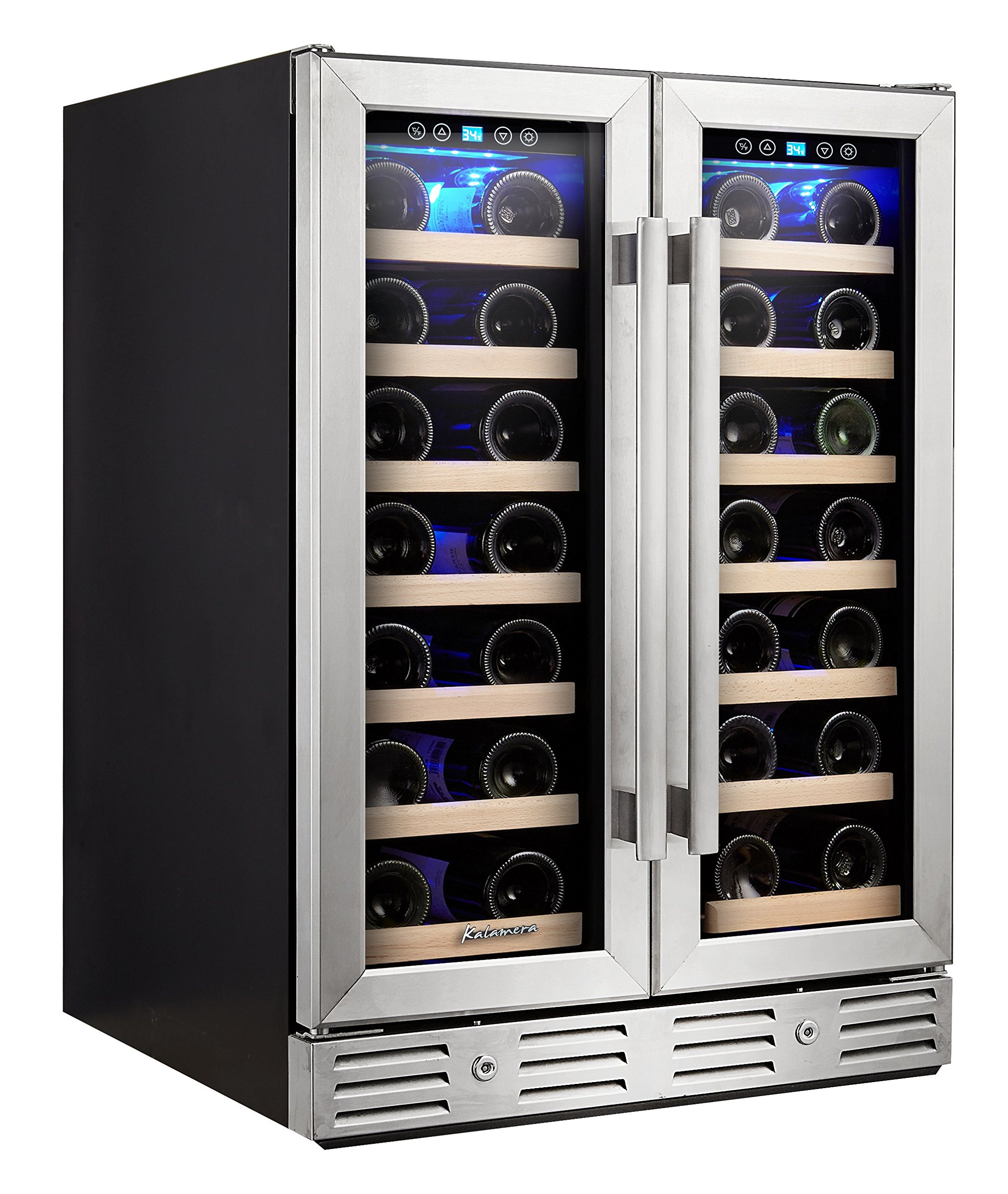 Kalamera 24'' Wine refrigerator 40 Bottle Dual Zone Built-in and Freestanding with Stainless Steel and Glass French-Door Style