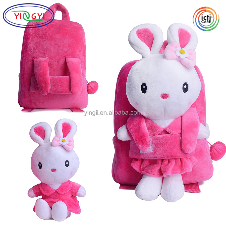 F559 Cute Pink Bunny Rabbit Plush Backpack Shoulder Bags 8'' Kids Under 5 Years Old Baby Backpack