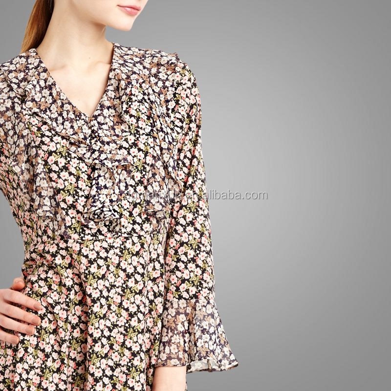 Long sleeves ruffled ditsy floral dress modest women clothing sexy girl skirt