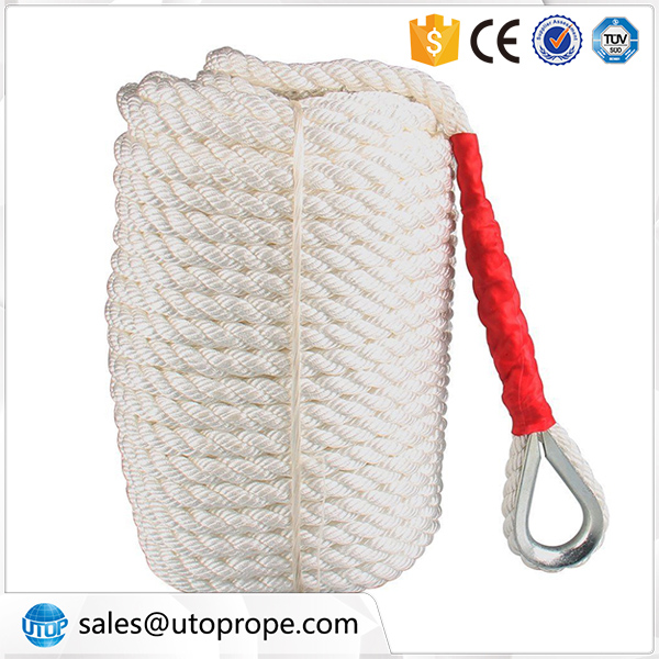 UTOP White Twisted Three Strand Nylon Rope for dock line, anchor line