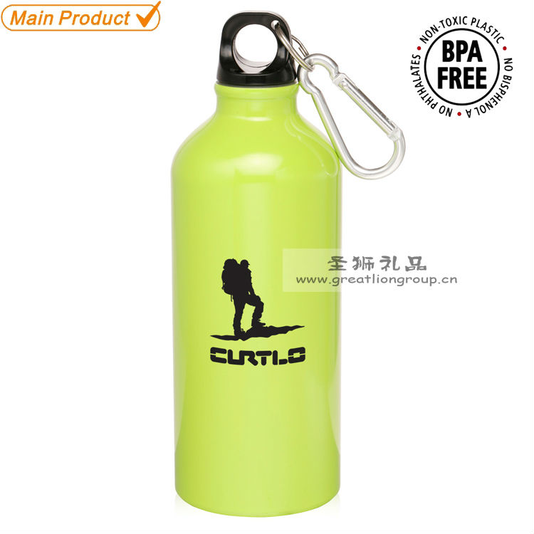 cheap aluminum sports drink bottle with carabiner