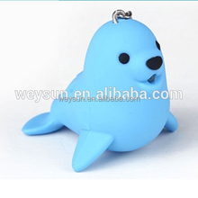 500 pcs LED Keychain Animal Cartoon sea lion Chaveiro com Lanterna LED som Toy Keychain
