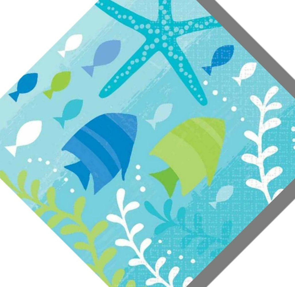 "Custom Made & Disposable {5"" Inch} 36 Count of 3 Ply Small Size Square Food & Beverage Napkins, Made of Soft Absorbent Paper w/ Summer Vacation Deep Sea Ocean Style {Green, Blue & White}"