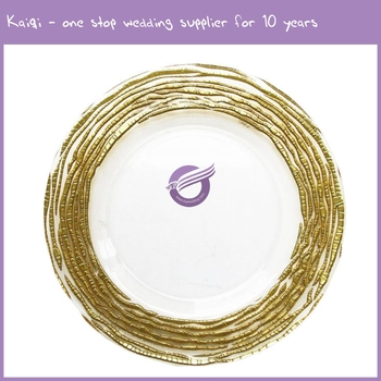 wholesale fancy events cheap new clear glass gold rimmed charger