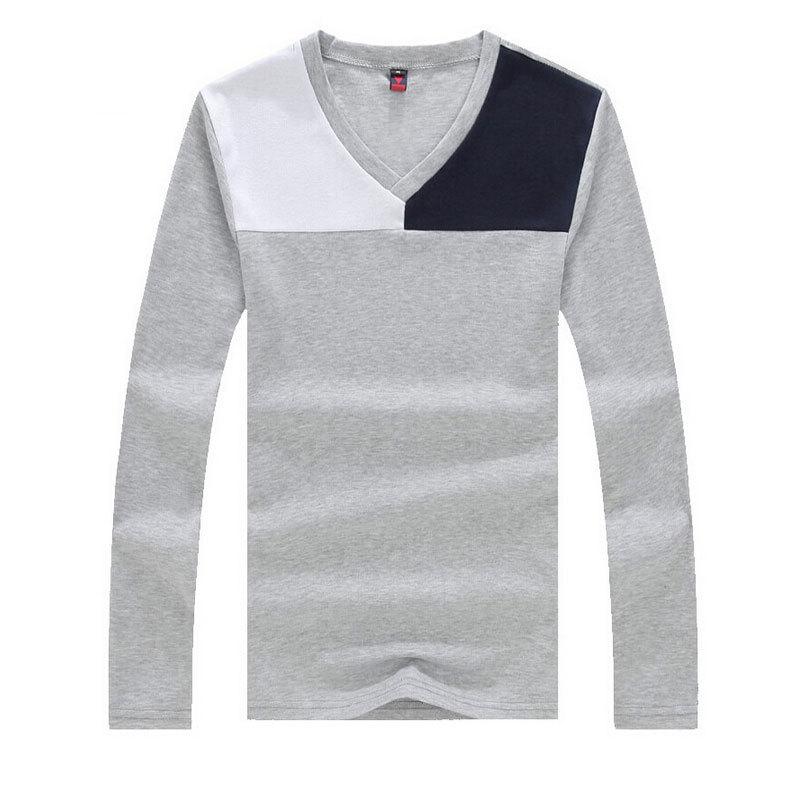 2f12b6c216b Get Quotations · Plus Size Deep V Neck T Shirt Men Long Sleeve T Shirts Gym  Fitness T-