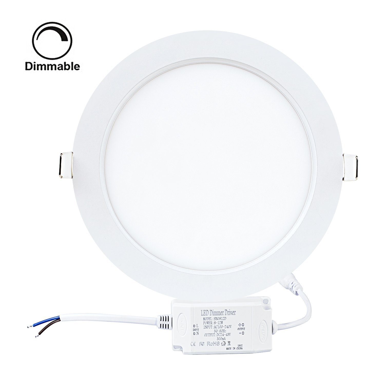 "9W 5"" Dimmable LED Recessed Panel Light,Ultra-thin Round LED Panel Light,5000K Daylight White,720lm,LED Recessed Ceiling Downlight Fixture,110V LED Driver Included"