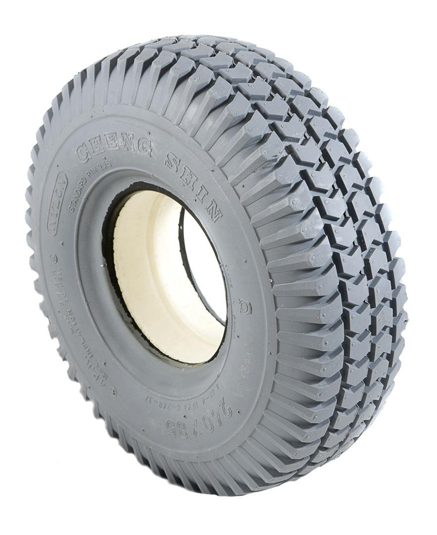 2 Grey Solid Block Tread Mobility Scooter Tyres 260 x 85 (3.00-4)