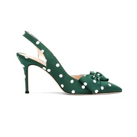 Anmairon green wave point dress shoe pointed toe high heel ladies pumps