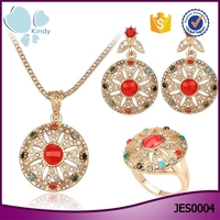 2016 ladies three piece necklace set pave diamond luxury gold jewelry set