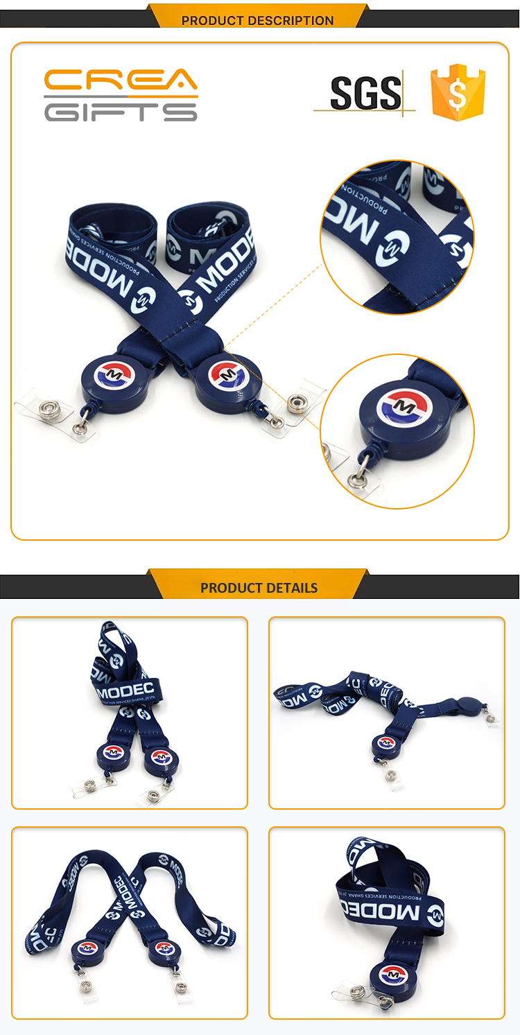 Cell Phone Accessories Woven Polyester Printing Retractable Short Lanyard Satin Ribbon