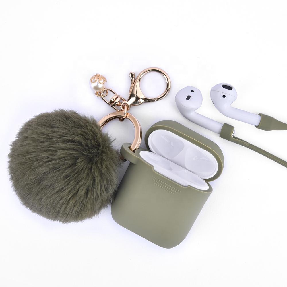 Alibaba.com / Fashion top quality soft silicone skin case protective cover case for Airpods case with keychain/strap