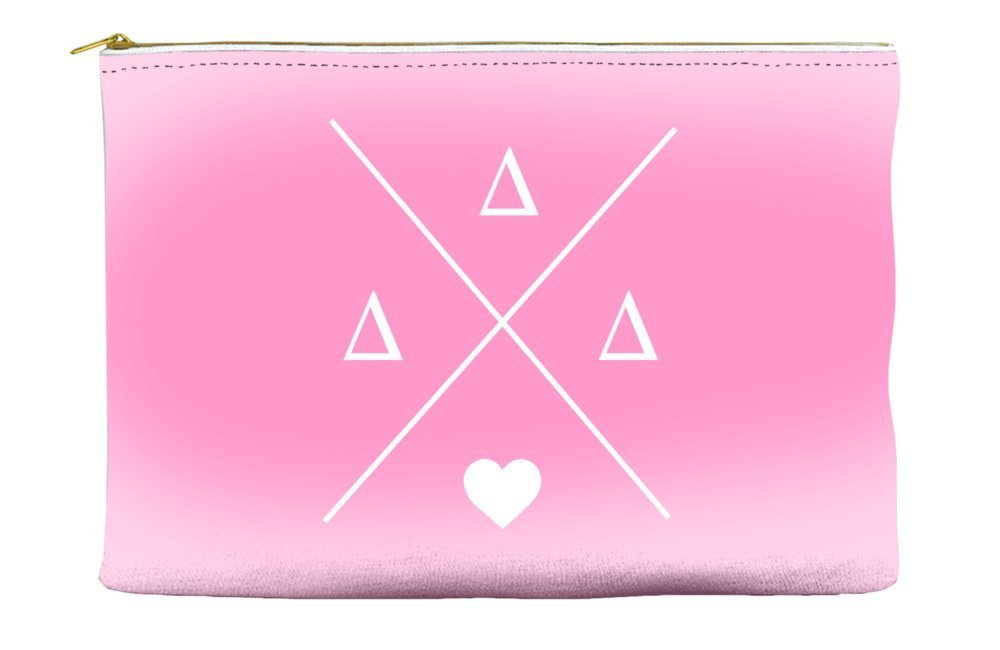 Delta Delta Delta (Tri Delta) Hipster Logo Pink Cosmetic Accessory Pouch Bag for Makeup Jewelry & other Essentials
