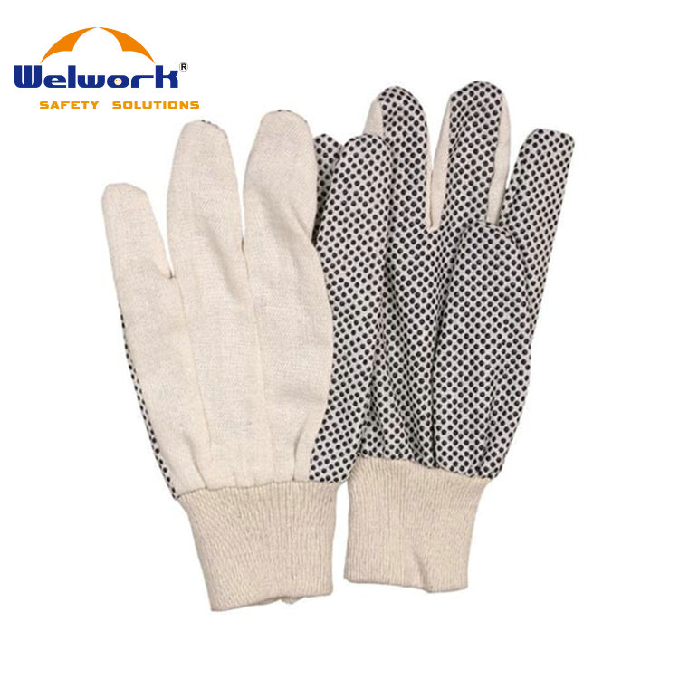 Safety Cotton Glove PVC Dotted Palm Straight Thumb White Knit Wrist Working Hand Gloves