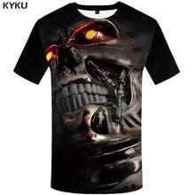 Мужская футболка с принтом черепа KYKU, футболка в стиле панк-рок, с круглым вырезом, в стиле хип-хоп(Китай)